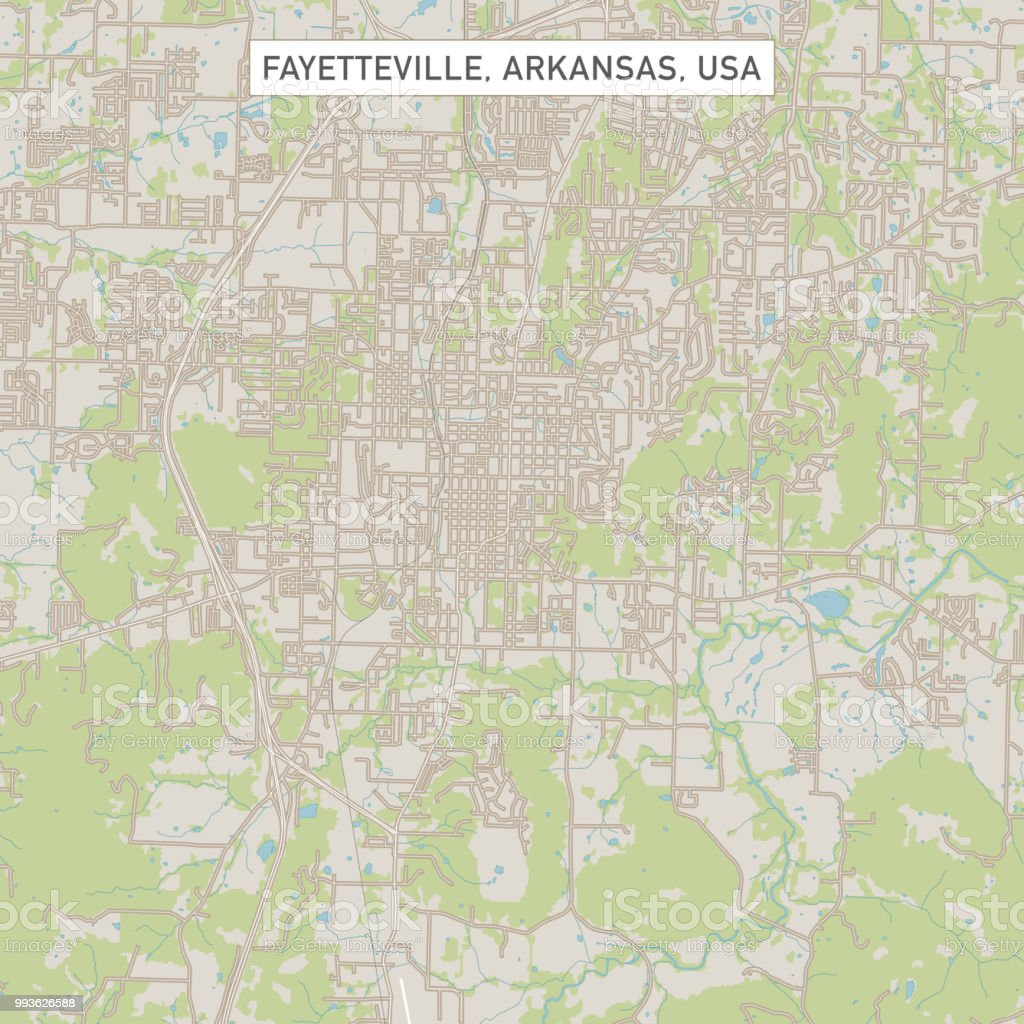 Fayetteville Arkansas Us City Street Map Stock Vector Art & More ...