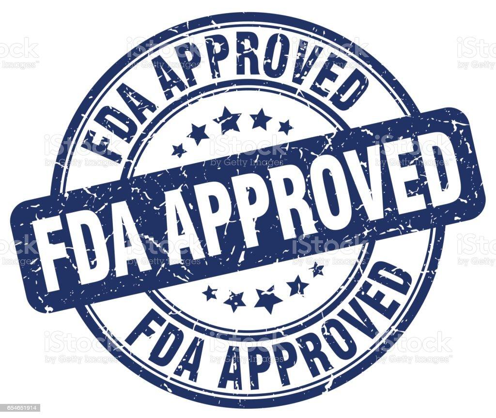 fda approved blue grunge round vintage rubber stamp - illustrazione arte vettoriale