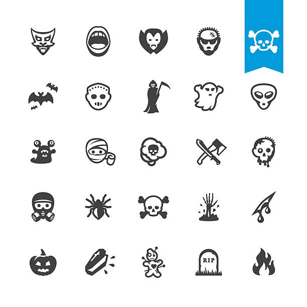 Fear and horror vector characters Fear and horror characters related BASE pack #35 ghost icon stock illustrations