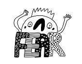 Fear hand drawn vector lettering with cute cartoon men frightened black white contrast doodle style emotion