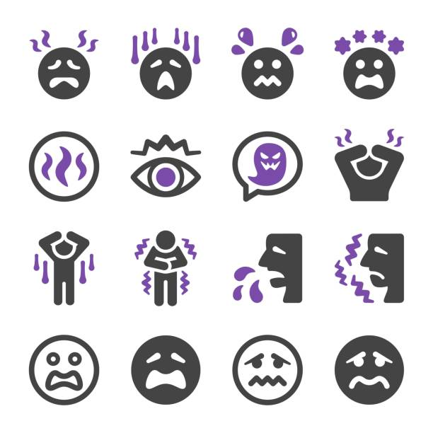ilustraciones, imágenes clip art, dibujos animados e iconos de stock de icono de miedo conjunto - emoji asustado