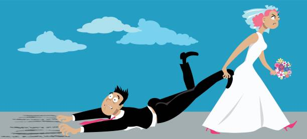 Fear of commitment Upset woman in a wedding dress dragging a reluctant groom who is suffering from a fear of commitment, EPS 8 vector illustration girlfriend stock illustrations