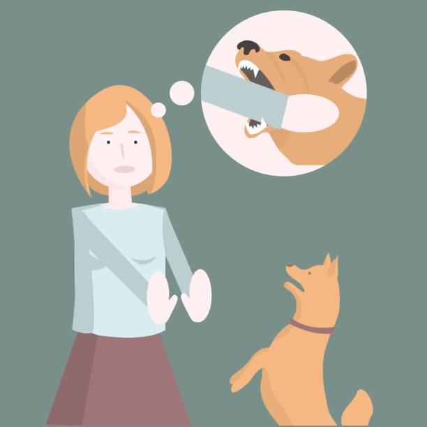 illustrazioni stock, clip art, cartoni animati e icone di tendenza di paura dei cani. la ragazza ha paura del cane. - furioso