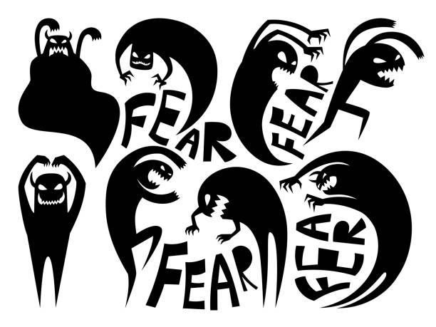 Fear silhouettes icons Fear silhouettes. Anxiety and disorder icons, conflicting and attack signs, dark demon or evil night devil vector illustration isolated monster stock illustrations