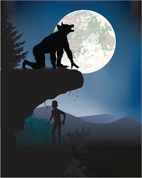 Fear Boy hiding from the werewolf. werewolf stock illustrations