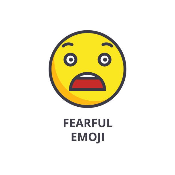 icône d'emoji craintif vecteur ligne, signe, illustration sur fond, traits modifiables - Illustration vectorielle