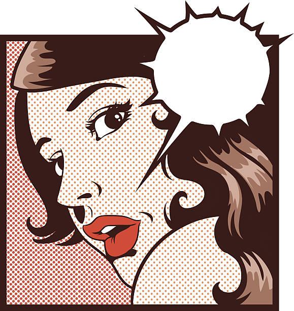 stockillustraties, clipart, cartoons en iconen met fearful woman looking back - paranoïde