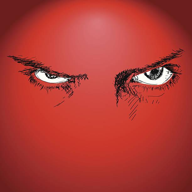 ilustrações de stock, clip art, desenhos animados e ícones de intrépido olhos - furioso