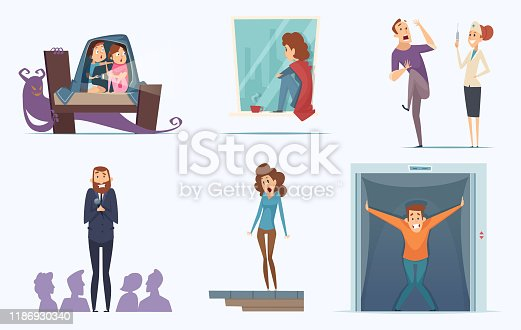 Fears people. Scary persons childrens expression nervous afraid panic phobia terrorism shadows vector characters. Illustration scary and fear, panic phobia, person stress and afraid
