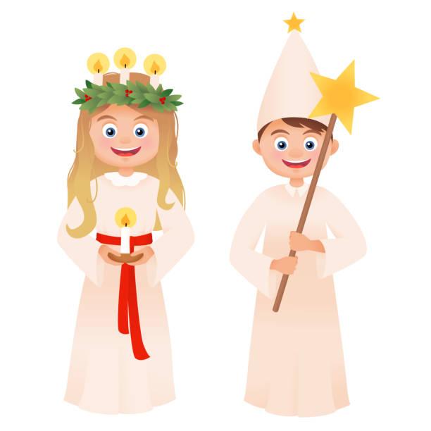 bildbanksillustrationer, clip art samt tecknat material och ikoner med högtidsdag av saint lucy - lucia