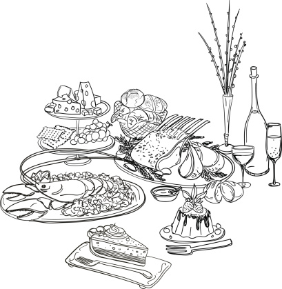 Feast illustration in black and white