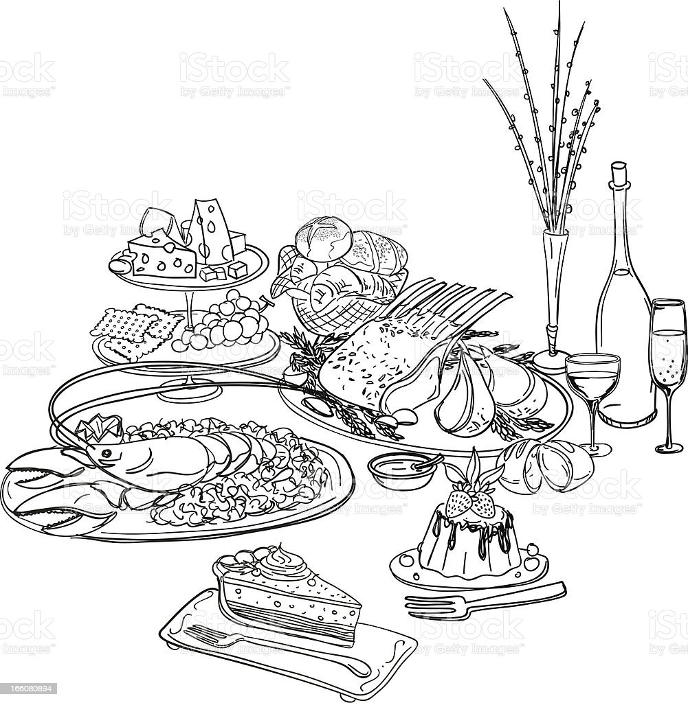 Feast illustration in black and white vector art illustration