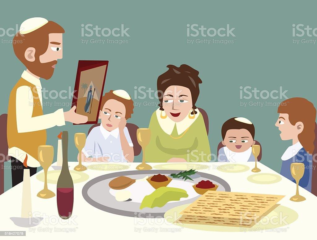 Feast of Passover vector art illustration
