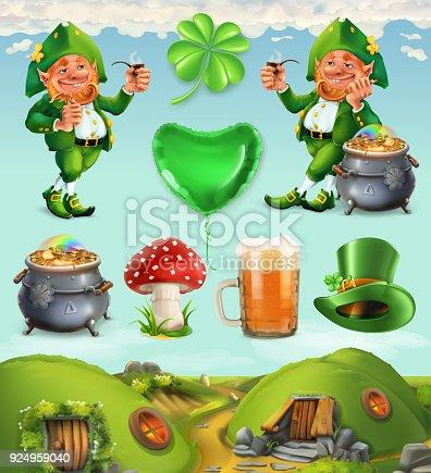 Feast of Saint Patrick. Fairy Tale Village. Leprechaun house 3d vector icon set
