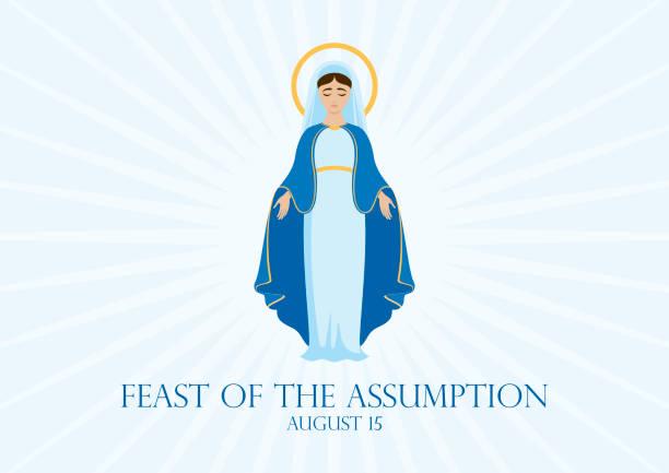 illustrazioni stock, clip art, cartoni animati e icone di tendenza di feast of the assumption vector - ferragosto
