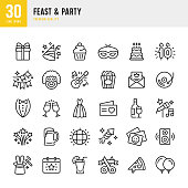 Set of 30 Feast & Party line vector icons. Gift, Cupcake, Live Music, Guitar, Invitation, Fireworks, Clown, Festival, Dance Floor, Masquerade and so on