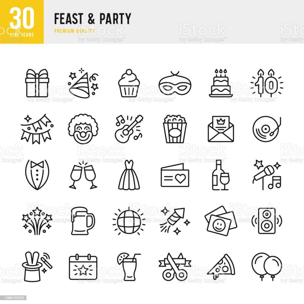 Fiesta y fiesta - conjunto de iconos de vector de línea - ilustración de arte vectorial