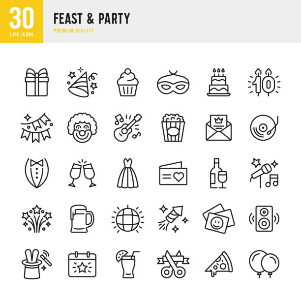 Feast & Party - set of line vector icons Set of 30 Feast & Party line vector icons. Gift, Cupcake, Live Music, Guitar, Invitation, Fireworks, Clown, Festival, Dance Floor, Masquerade and so on event stock illustrations