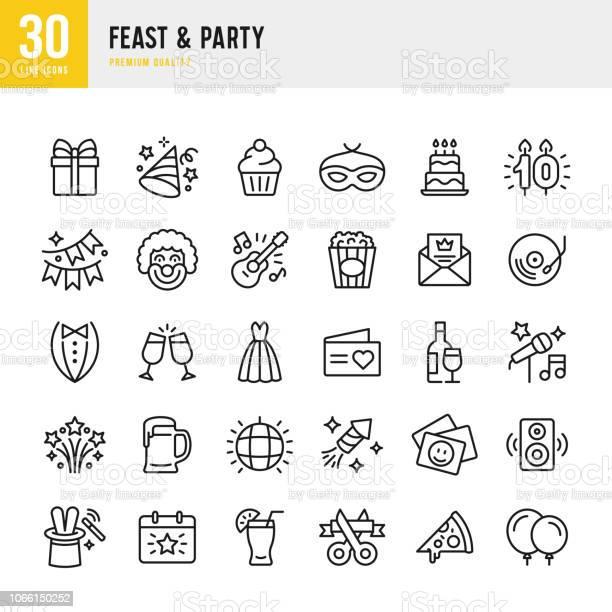 Feast Party Set Of Line Vector Icons — стоковая векторная графика и другие изображения на тему Алкоголь - напиток