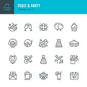 Set of 20 Feast & Party line vector icons. Gift, Cupcake, Live Music, Guitar, Invitation, Fireworks, Clown, Festival, Dance Floor, Masquerade and so on