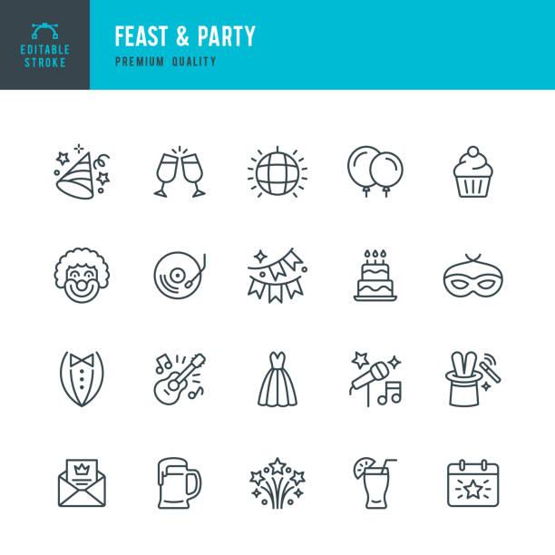 Fest & Party-Satz von Zeilenvektor-Ikonen – Vektorgrafik