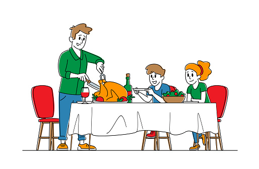 Feast, Thanksgiving Day Celebration Concept, Happy Family Dad and Kids Characters Sit at Table with Food and Drinks, Father Cutting Roasted Turkey, Festive Dinner. Linear People Vector Illustration