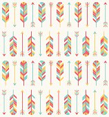 A southwestern styled seamless pattern of arrows and feathers.