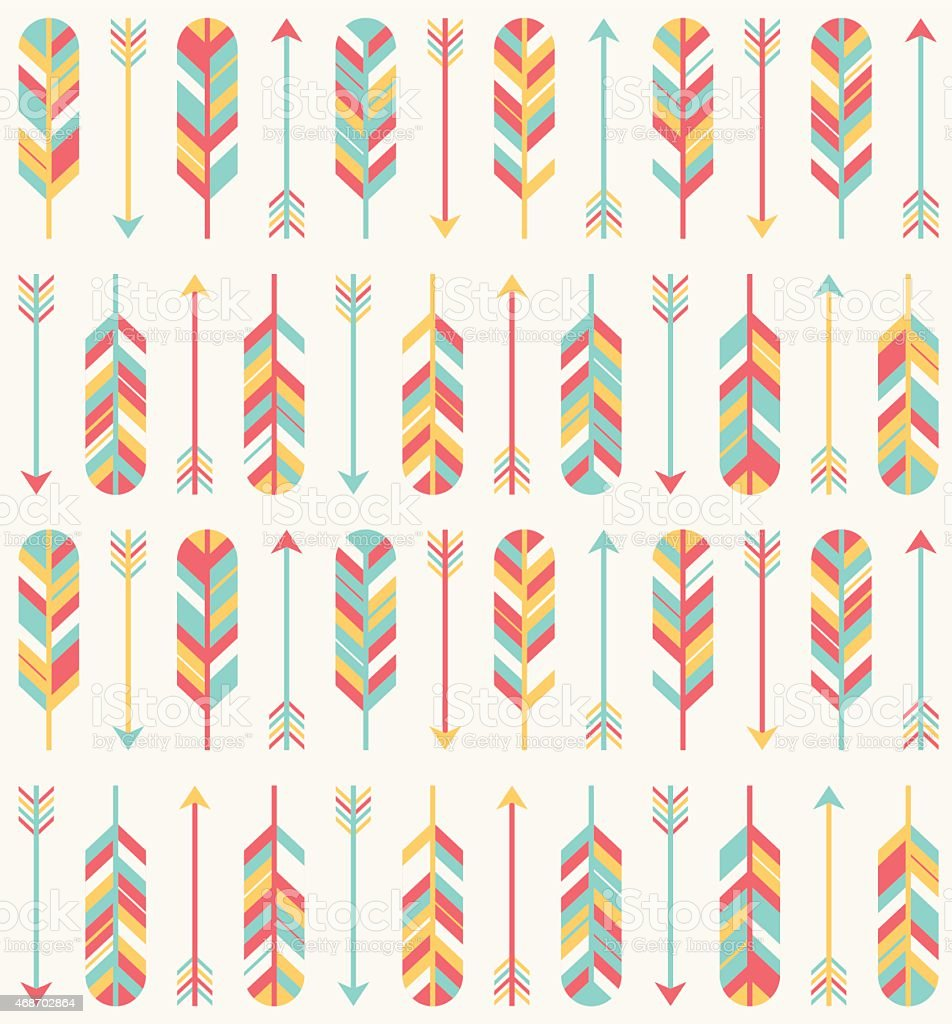 Feather and Arrow Pattern vector art illustration