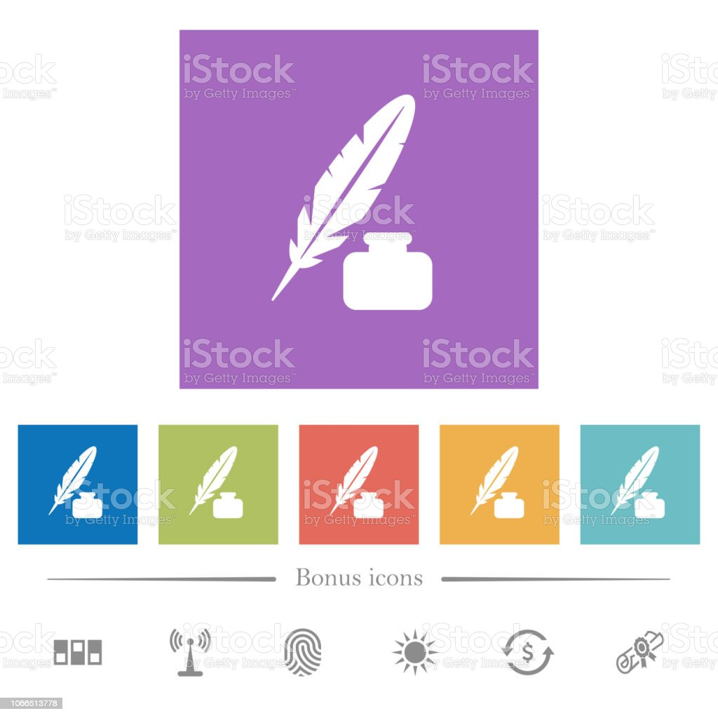 Feather And Ink Bottle Flat White Icons In Square Backgrounds Stock