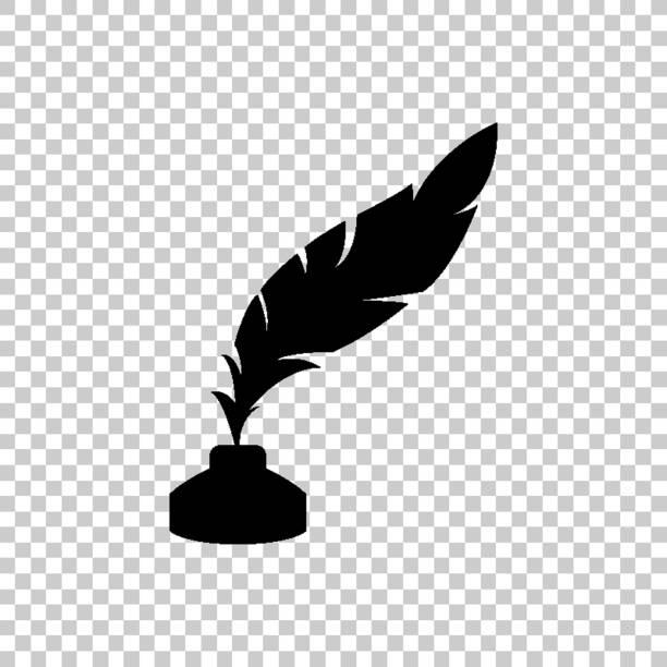 ilustrações de stock, clip art, desenhos animados e ícones de feather and ink bottle - green vector icon - tinteiro