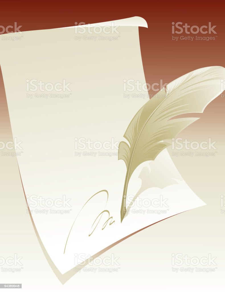 feather and paper royalty-free stock vector art