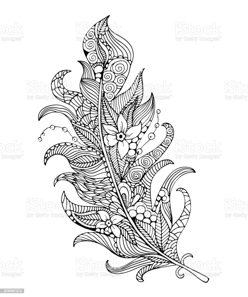 Feather Coloring Page Stock Vector Art & More Images of Adult | iStock