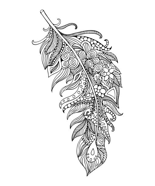illustrazioni stock, clip art, cartoni animati e icone di tendenza di feather coloring page. - piume colorate