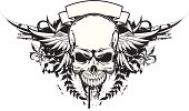 ornate vector heraldic skull with with wings, Download includes CS3 and EPS8 files.