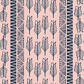 Feather hand drawn seamless pattern. Vector illustration popular women fashion textile print and wrapping.