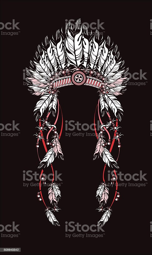 feather headdress Indians vector art illustration