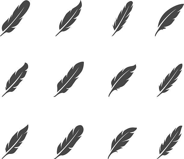 feather zestaw ikon - pióro przyrząd do pisania stock illustrations
