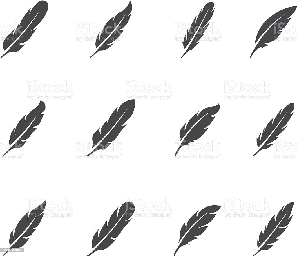 Feather icon set vector art illustration