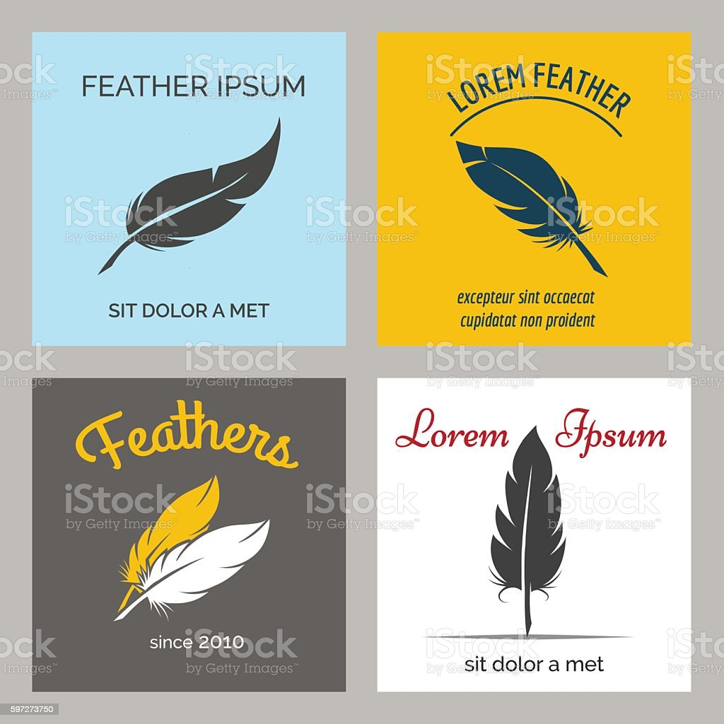 Feather logo set Lizenzfreies feather logo set stock vektor art und mehr bilder von abstrakt
