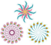 Feather Mandalas Pattern, with three different mandalas made of feather vector illustration.