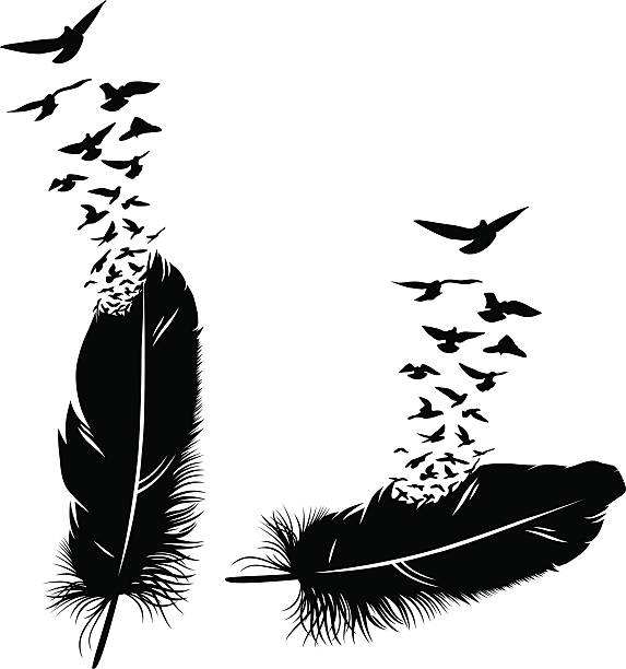 feder ein vogel  - stammes tattoos stock-grafiken, -clipart, -cartoons und -symbole
