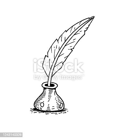 istock Feather pen and ink bottle 1243140326