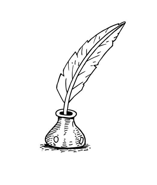 ilustrações de stock, clip art, desenhos animados e ícones de feather pen and ink bottle - tinteiro