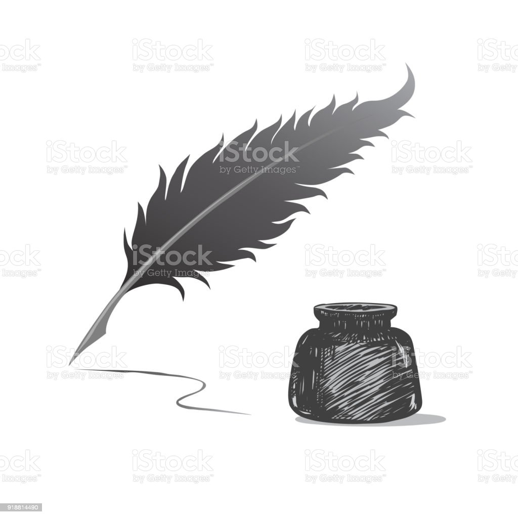 feather pen and inkwell drawing of ancient stationery on