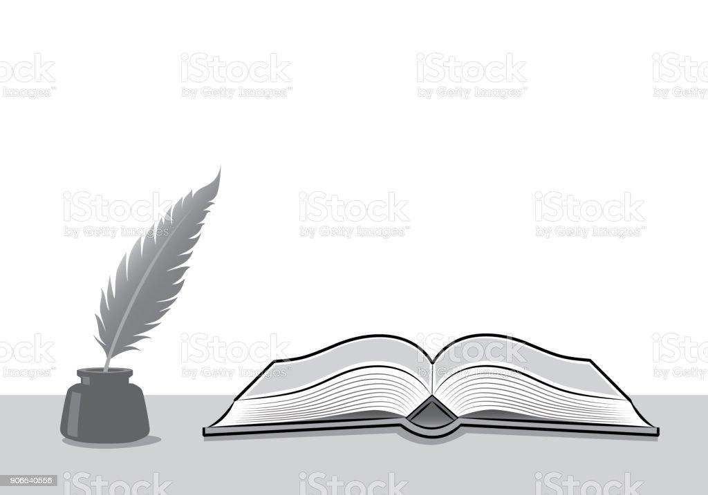 Stylo Plume Et Lencrier à Livre Ouvert Vecteurs Libres De