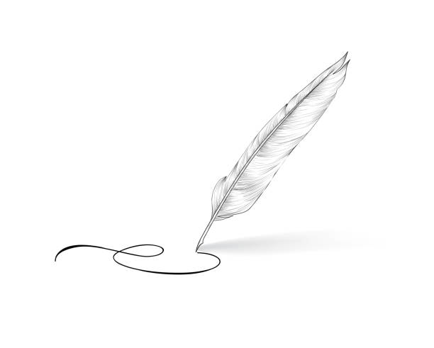 Feather pen icon. Calligraphy sign. vector art illustration