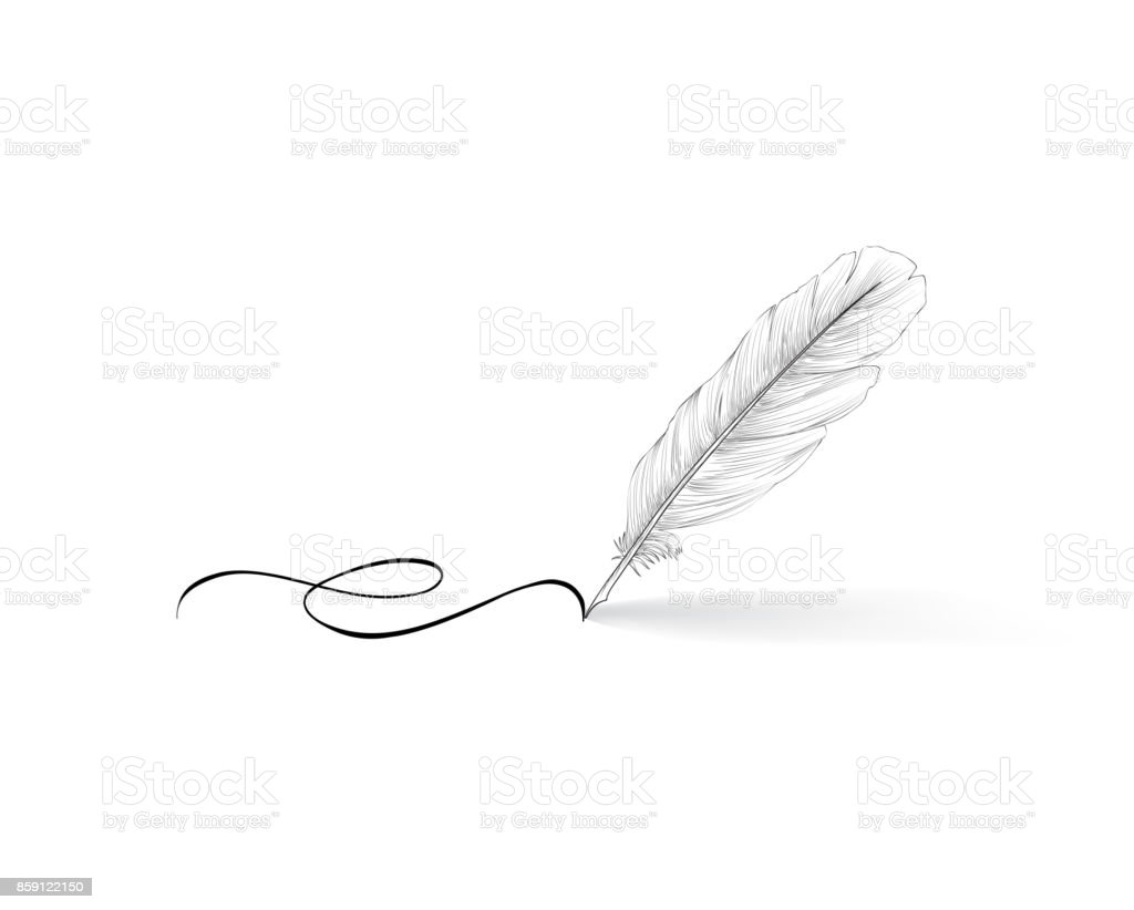 Feather pen icon. Calligraphy sign.