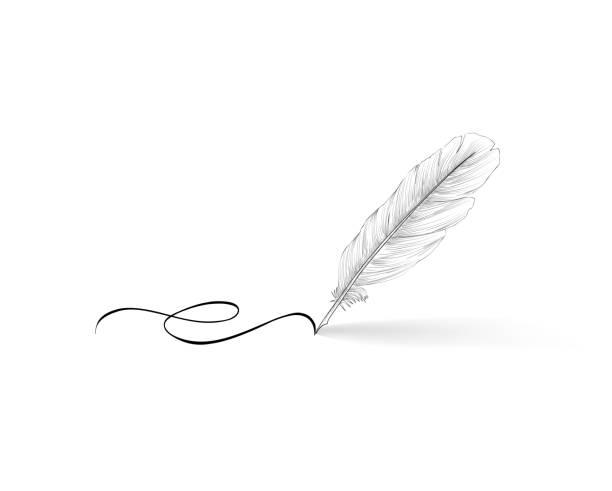 ikona pióra pióra pióra pióra znak kaligrafii. - pióro przyrząd do pisania stock illustrations