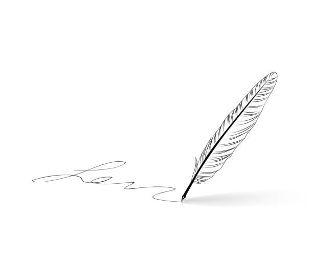 羽根ペン イラスト素材 Istock