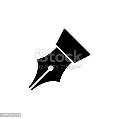 istock Feather pen icon flat vector template design trendy 1220627789